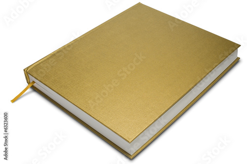 Fotografija a golden cover hardcover book on white - with clipping path