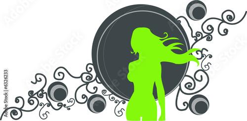 Fotografie, Obraz  silhouette femme verte sur fond bleu