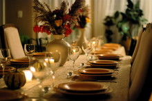 Fancy, Cozy Table Setting For Dinner Party