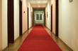 Shot of hotel hall interior with red carpet in night scene