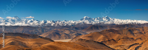Photographie Panorama with Everest and Cho Oyu mountain
