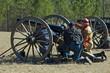canvas print picture - US Civil War reenactors with cannon