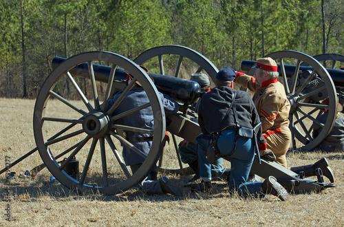 Fotografie, Obraz  US Civil War reenactors with cannon