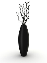 Black Vase With Dry Wood Isolated On White