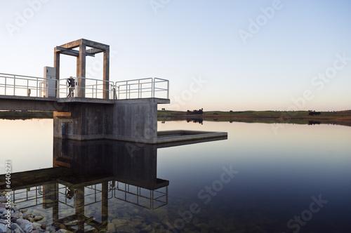 Photo Intake tower in a small dam, Alentejo, Portugal