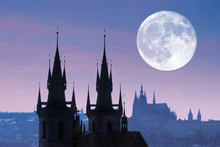 Czech Republic, Prague, Silhouette Of Tyn Church At Night.