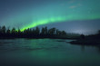 Leinwanddruck Bild - Aurora Borealis over the river