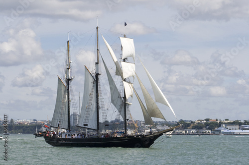 Tall Ship - A Black Brigantine Side On © Malcolm Leman
