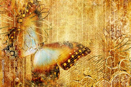 Photo sur Toile Papillons dans Grunge golden butterfly