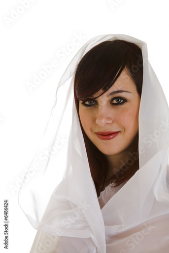 Fototapeten womenART young woman wraped in white veil isolated on white background