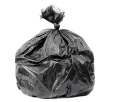 Tied Black Rubbish Bag Isolated On White Background,