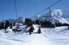 Ski Lift With Spectacular View Of Mont Blanc Mountain Range