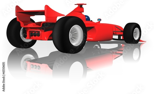 Deurstickers Cars Ferrari F1 from Back - illustration