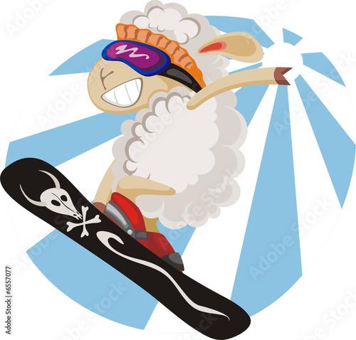 In de dag Ridders Funny Lamb-snowboarder