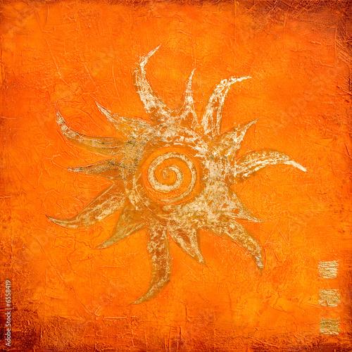 Foto-Stoff bedruckt - gemalte Sonne (von Sunnydays)