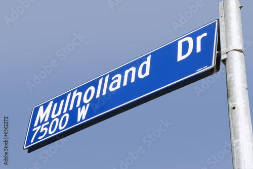 Spoed Foto op Canvas Noordzee Mulholland Drive Street Sign