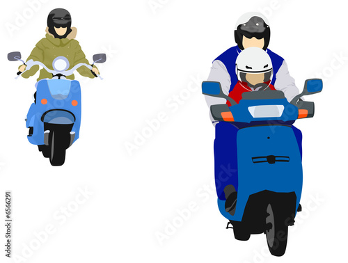 Poster Motocyclette illustration of young biker family