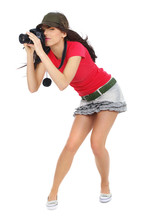 Young Sexy Girl Holding A Photo Camera.