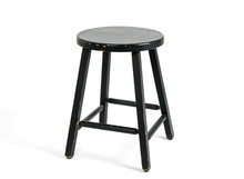 Painted Black Wooden Stool