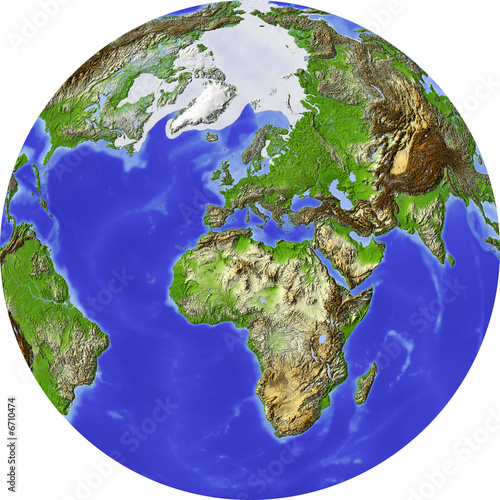Globe, shaded relief, centered on Europe