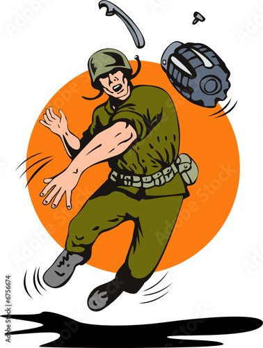 Poster Militaire Soldier throwing a grenade in front