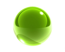 Bright Green Glass Sphere Isol...