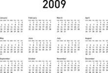 Simple Calendar For 2009 (2009...