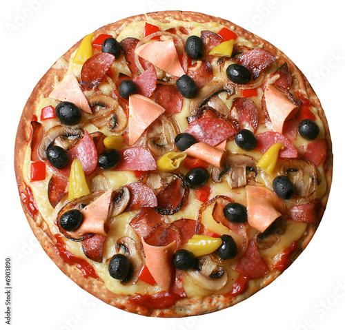 Fotografie, Obraz  Pizza, schinken, oliven, paprika, champignons