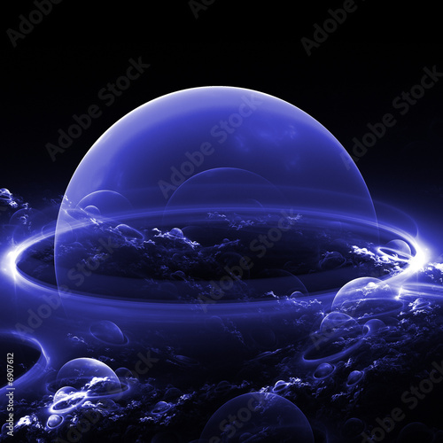 Poster Violet abstract blue planet/bubble with abstract clouds