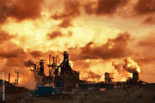 Obraz na plátně  industry and sunset
