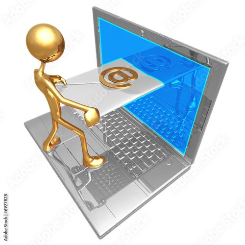 Fotografie, Obraz  Sending Receiving E-Mail Through Laptop Screen