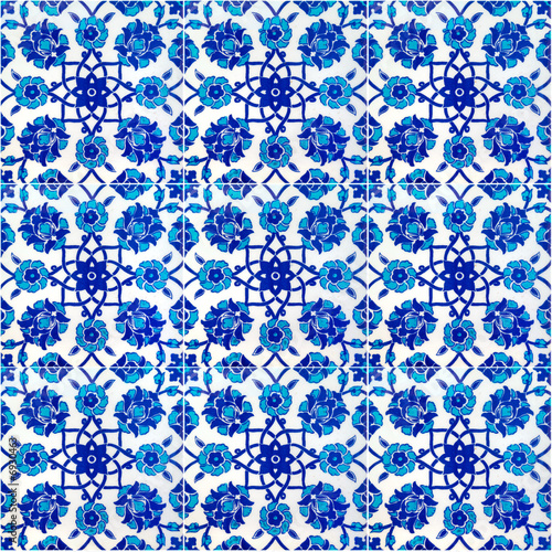 Floral pattern on old Turkish tiles, Istanbul, Turkey