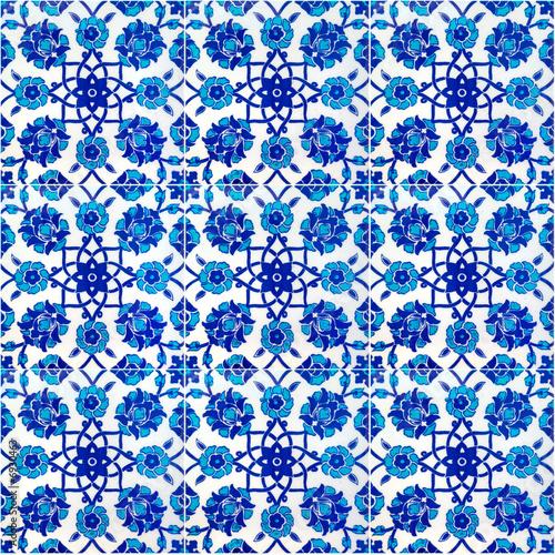 Floral pattern on old Turkish tiles, Istanbul, Turkey