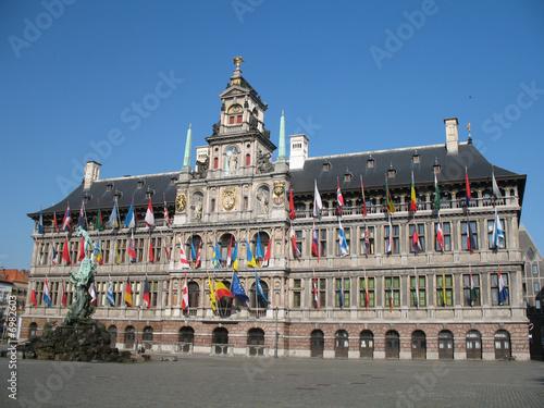Foto op Plexiglas Antwerpen Het Stadhuis - Rathaus in Antwerpen Belgien