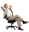 Young businessman sitting on chair against white background