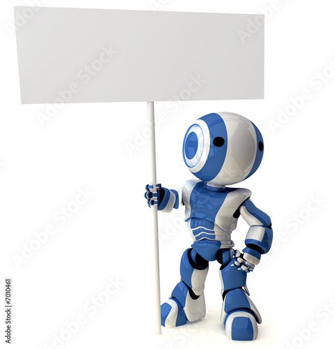Foto  Glossy Blue Robot Standing Holding Sign