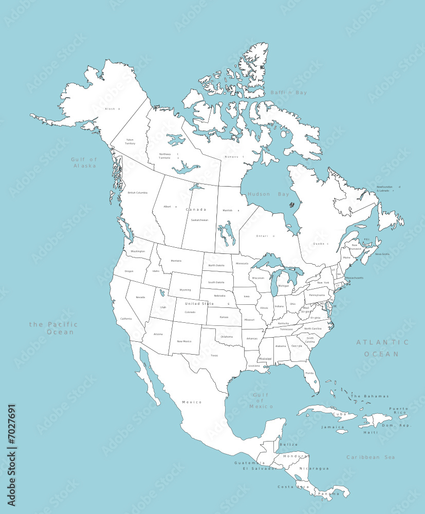 Fototapety, obrazy: North America vector map with countries