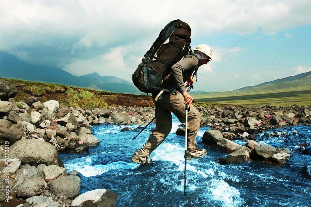 Obraz Hike on Kamchatka fototapeta, plakat