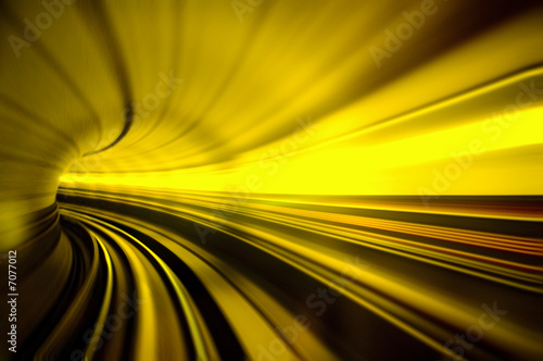 Fotografie, Obraz  train moving fast in tunnel