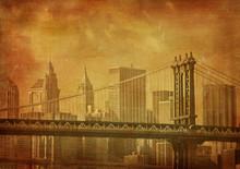 Vintage Grunge Image Of New York City