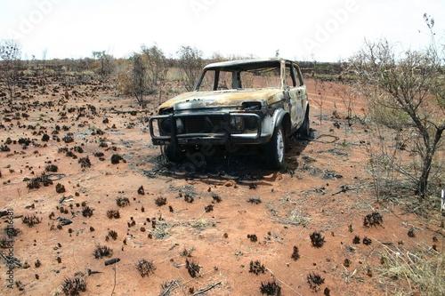 Photo Stands Vintage Poster Burned car