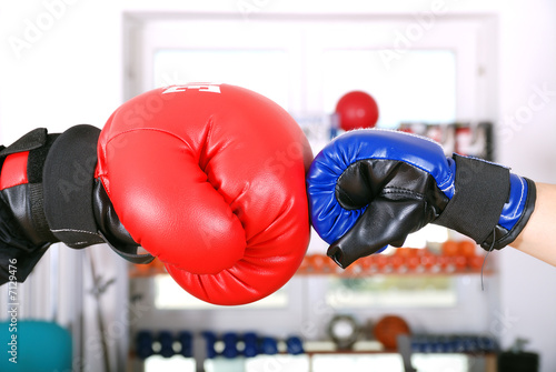 Photo  Competition concept with boxing gloves