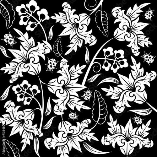 Staande foto Bloemen zwart wit Abstract flower pattern with ladybug, design, vector
