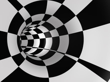 Abstract Checkered Speed Tunnel