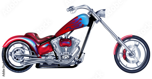 Custom Red Chopper Fototapeta