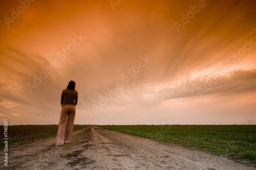 Fototapeta Country Road and sunset obraz na płótnie