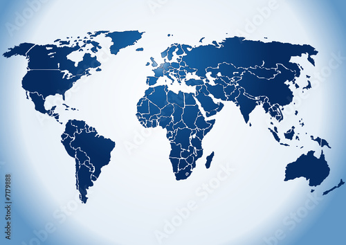 World map dark blue shiny silhouette - Fototapeten Weltkarte ...