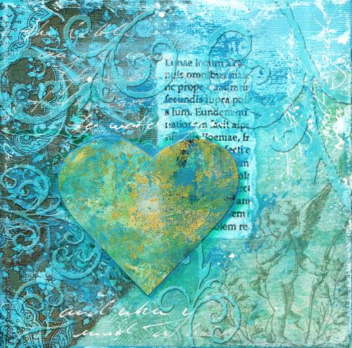 Foto-Stoff bedruckt - Herz Collage (von Sunnydays)