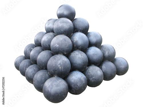Fényképezés A Collection of Iron Cannon Balls.