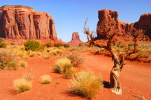 Large Rock Formations In The Navajo Park Monument Valley